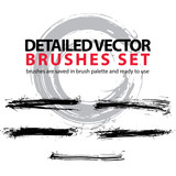Set of highly detailed vector torn brush strokes, illustrator st - 70994091