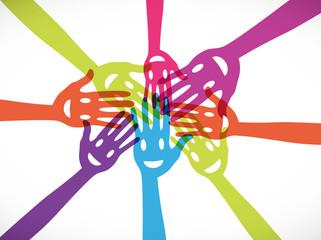 groupe mains souriantes : un pour tous