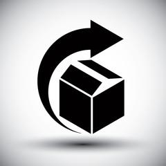 Gift delivery conceptual icon, simple single color new idea vect