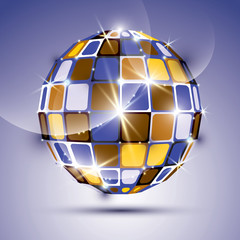 3D glossy violet fractal mirror ball created from geometric figu
