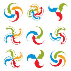 Abstract arrows vector symbols, vector graphic design template c