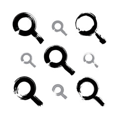 Set of hand-painted monochrome magnifying glass icons isolated o