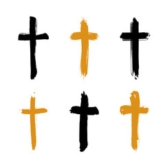 Set of hand-drawn black and yellow grunge cross icons, collectio