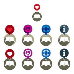 Literature books and education icons set, unusual creative vecto