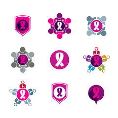 Breast cancer awareness idea. Vector illustrations of a group of