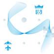 Elegant flowing lines vector background, royal design, eps8. Blu