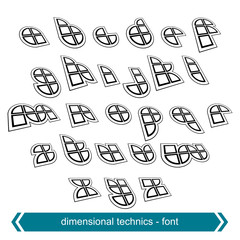 Small dimensional shift letters with rotation effect, geometric