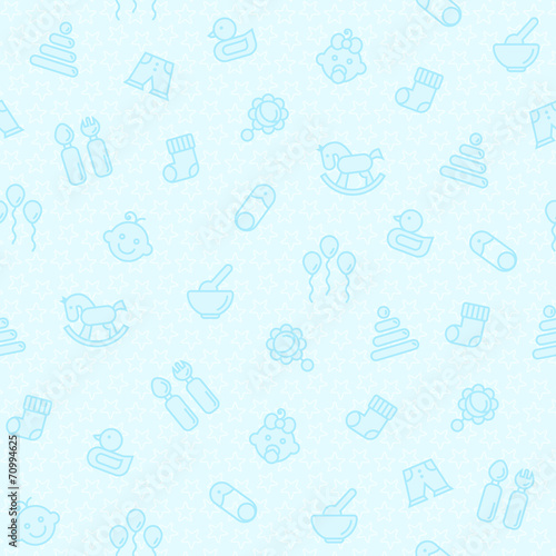 Seamless blue pattern for baby - 70994625