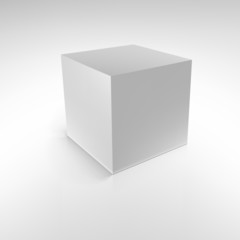 Cube with reflections and shadows,  illustration