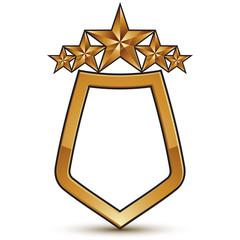 Heraldic vector template with five pentagonal golden stars, dime