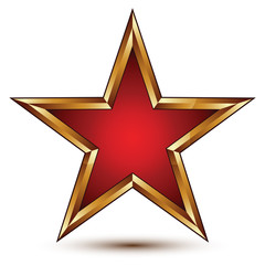 Refined vector red star with golden outline, festive 3d pentagon