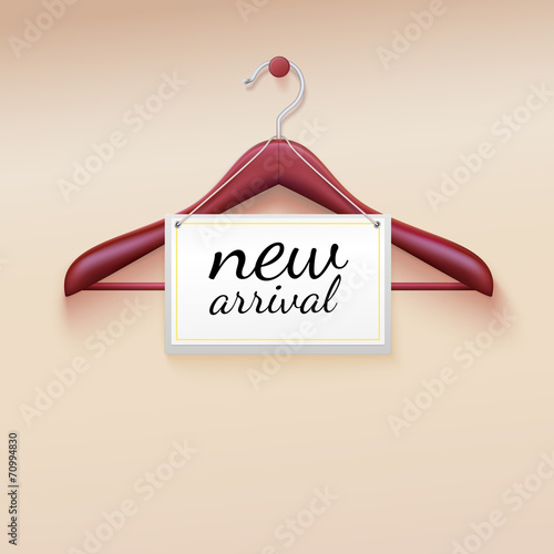 Keuken foto achterwand Boodschappen Clothes hanger with new arrival tag