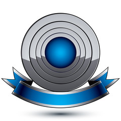 Heraldic 3d glossy blue and gray icon - can be used in web and g