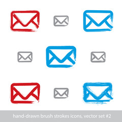 Collection of hand-drawn simple vector mail icons, set of brush