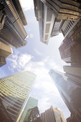 Fisheye View of Modern Buildings. Business Concept