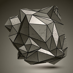 Deformed complicated metallic 3d abstract object, grayscale asym