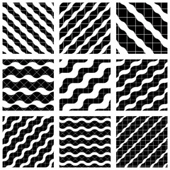 Set of grate seamless patterns with geometric figures, ornamenta