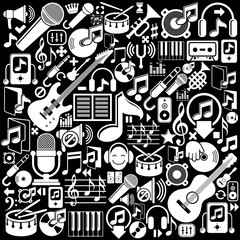 Set of musical elements, vector white isolated musical icons.