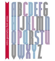 Condensed stripy font, retro geometric narrow uppercase letters