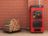 Solid fuel boiler. Boiler room