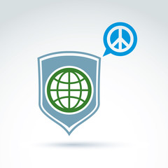 Round antiwar vector icon, green planet on a shield and speech b