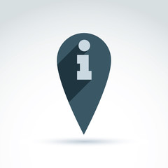 Vector map pointer with an info icon. Place location symbol, inf