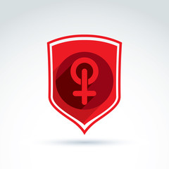 Shield with a red female sign, woman gender symbol. Lesbian club