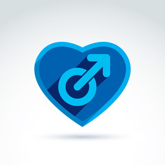 Heart with a blue male man gender symbol. Lesbian club conceptua