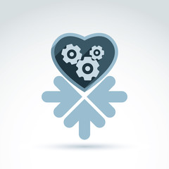 Vector illustration of a mechanical heart. Love machine icon wit