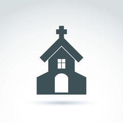 Christian church with a cross. Vector illustration of a temple,