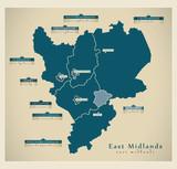 Modern Map - East Midlands UK poster