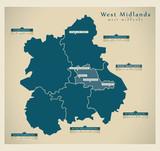 Modern Map - West Midlands UK poster