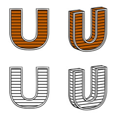 Letter U (a block of wood)