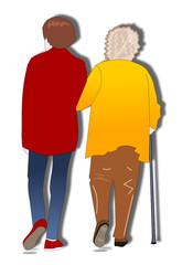 Aide à la marche d'une personne âgée