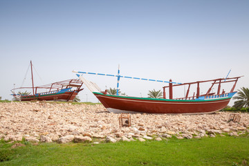 Stylized Arabic wooden ships. Monument in Ras Tanura, Saudi Arab