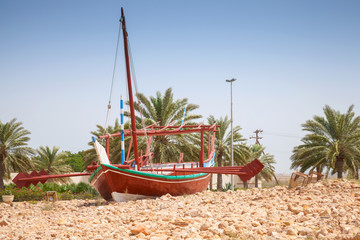 Stylized Arabic wooden ship. Monument in Ras Tanura, Saudi Arabi