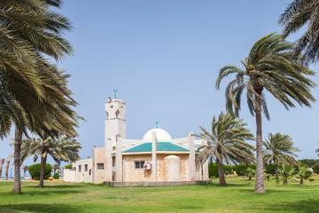 Modern mosque and palms in Rahima, Saudi Arabia