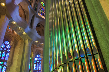 BARCELONA, SPAIN - AUGUST 27, 2014: Colorful interior with organ