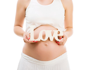 Pregnant belly with word love