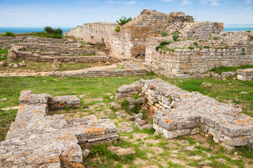 Ruins of ancient fortress on Kaliakra headland, Bulgarian Black