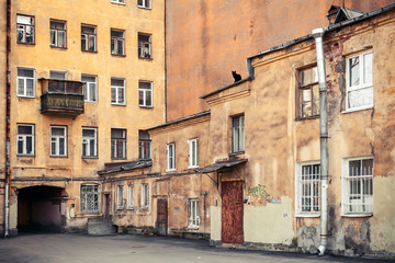 Street fragment with yellow houses. Saint-Petersburg, Russia