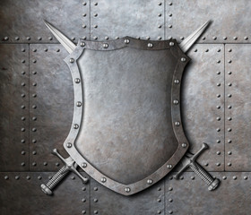 metal shield and two crossed swords over armor plates