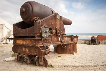 Old big rusted coastal cannon in Medina of Tangier, Morocco