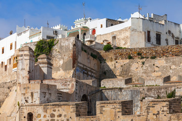 Ancient fortress and living houses in Medina, old Tangier, Moroc