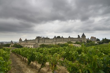 View of Carcassonne under a cloudy sky - France