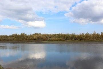 Autumn landscape on the river Ob