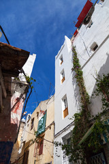 Living houses in Medina, old part of Tangier town, Morocco