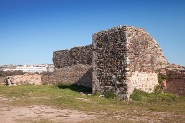 Ancient brick fortress ruins in Tangier, Morocco