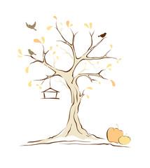 Birds on autumn tree