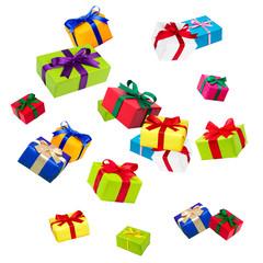 Fliegende bunte Geschenke vor weißem Hintergrund